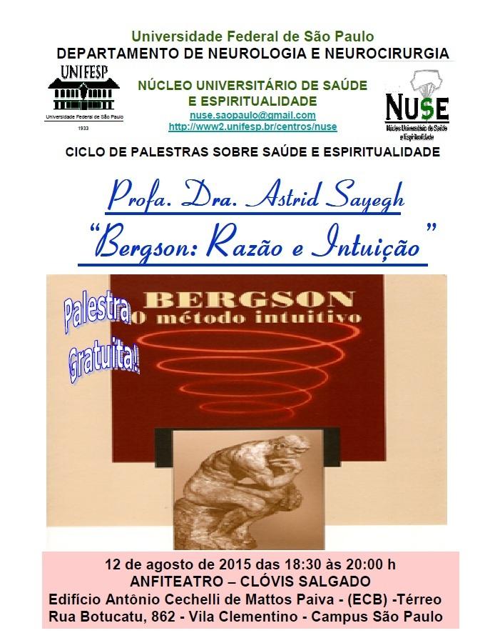 Cartaz - Palestra UNIFESP - Bergson